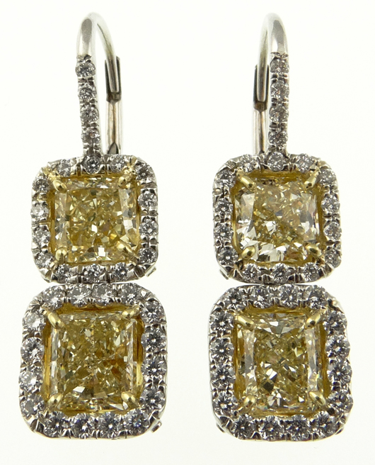 Yellow diamond earrings, 4.47 carats. Price realized: $13,570. Photo by Royce Bonta, Kodner Galleries.
