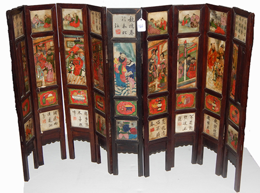 Chinese nine-panel painted soapstone tabletop screen, one of many Asian antiques in the estate of opera singer Frances Yeend and James Benner, which will be auctioned Aug. 29-30. Joe R. Pyle Auction image