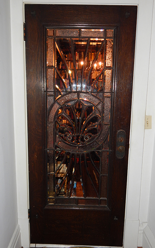 Beautiful late-19th-century leaded-glass and wood door, origin: Morgantown, W.Va., from the estate of opera singer Frances Yeend and James Benner to be auctioned Aug. 29-30. Joe R. Pyle Auction image