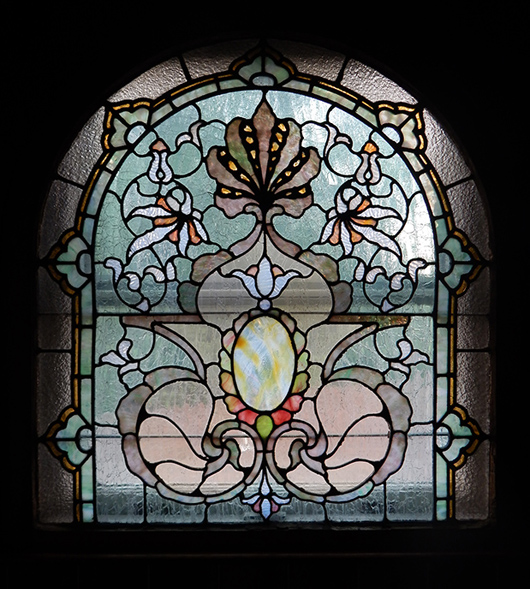One of many superb stained-glass windows from the residence and estate of opera singer Frances Yeend and James Benner to be auctioned Aug. 29-30. Joe R. Pyle Auction image