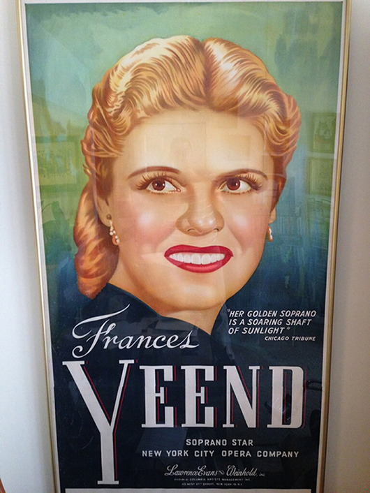 During her long and successful career as a featured soprano, Frances Yeend sang with many of the world's great symphonies. She kept a collection of opera-related memorabilia that included posters promoting her appearances, such as this one from the New York City Opera Company. Joe R. Pyle Auction image