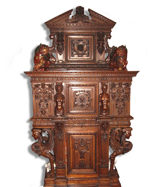 While touring Europe, Frances Yeend and her husband James Benner scoured antique shops and galleries, purchasing art and furniture dating to as early as the 16th century. Upon their retirement from the stage, the couple moved their entire collection to a comfortable West Virginia home. Shown here is a heavily carved English dressoir. Joe R. Pyle Auction image