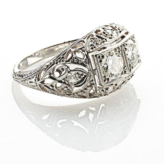 Art Deco 'Moi et Toi' diamond and platinum ring, $1,500-$2,000. Rago Arts and Auction Center image