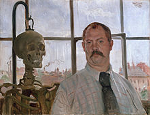 An example of Lovis Corinth's work, 'Self-portrait with Skeleton,' 1896, oil on canvas. Städtische Galerie im Lenbachhaus, courtesy Wikimedia Commons.