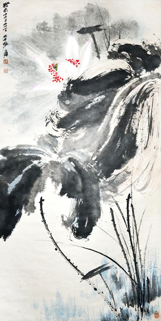 Lot 69, 'Lotus in the Wind,' 1943, by Zhang Daqian. Signed Zhang Yuan, with two artist seals $80,000-$100,000. Gianguan Auctions image.
