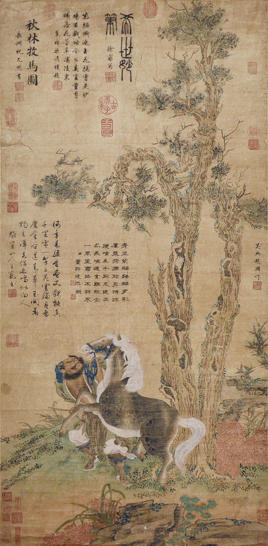 Lot 61, 'Stallion and Attendant,' by Zhao Lin. Ink and color on paper. Yuan Dynasty. signed Zhao Lin, with one artist seal, eight collector seals, 11 emperor seals and five colophons by Zhu Yunming, Wang Chong, Liang Qingbiao, Xu Lin and Dong Bangda. Catalog estimate: $400,000-$500,000. Gianguan Auctions image.