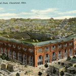 An early 1900s postcard pictures Cleveland's League Park. Only the building on the far right and a wall survived demolition in the early 1950s. Image courtesy of Wikimedia Commons.