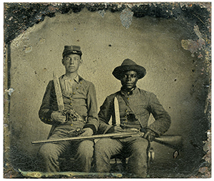 Sgt. Andrew Martin Chandler of the 44th Mississippi Regiment, left, and Silas Chandler pose in this tintype, circa 1861. The tintype was recently donated to the Library of Congress. Library of Congress image.