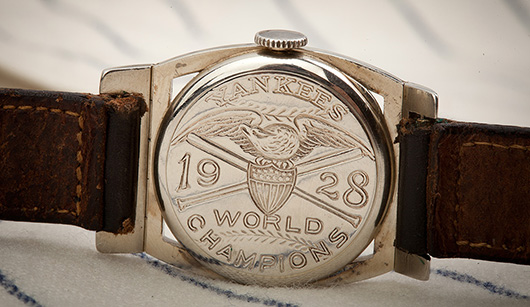 The engraving on the back of the watch declares the New York Yankees champions of the 1928 World Series. Lou Gehrig hit four home runs and batted .545 in the four-game sweep of the St. Louis Cardinals in the Series. SCP Auctions image.