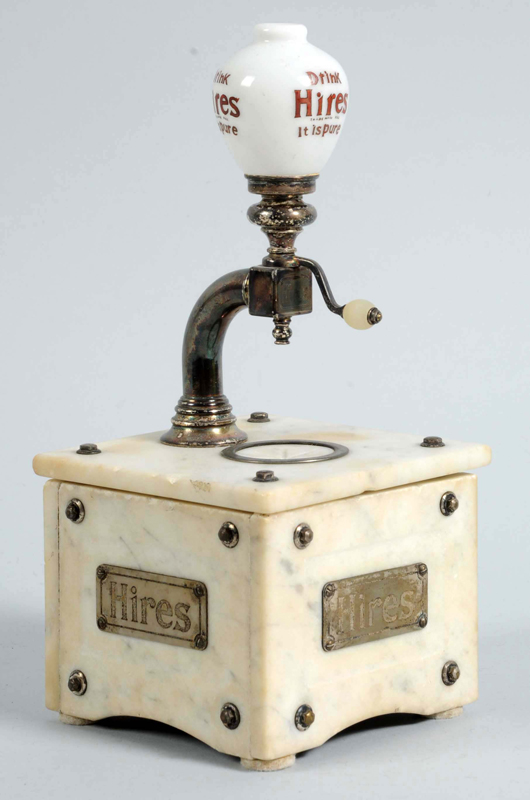 1900 Hires 'Munimaker' salesman's sample replicating a full-size root beer dispenser of the period, $84,000. Morphy Auctions image