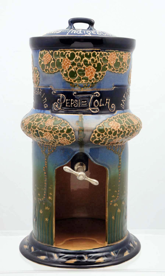 Pepsi-Cola Art Nouveau china soda fountain syrup urn, $69,000. Morphy Auctions image