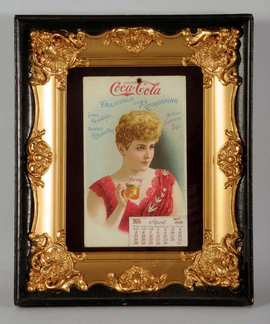 1896 Coca-Cola calendar in shadow box with gilt frame, $105,000. Morphy Auctions image