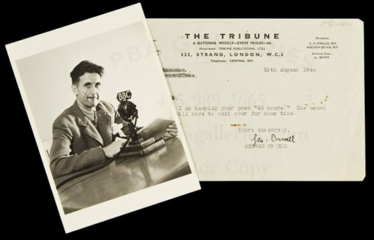 A photo of British novelist and essayist George Orwell and a signed, typed letter. Image courtesy of LiveAuctioneers.com Archive and PBA Galleries.