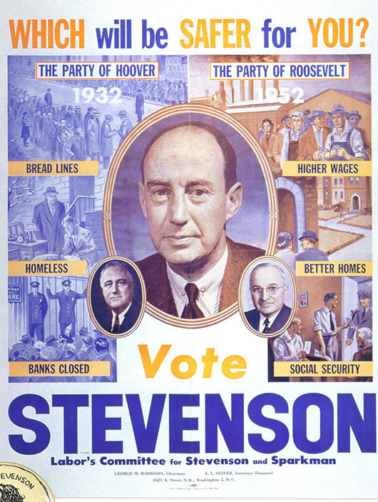 Democratic party poster from the 1952 presidential campaign for Adlai Stevenson. Image courtesy of Wikimedia Commons.