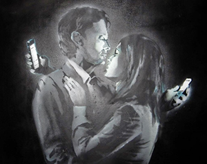 'Mobile Lovers' by British artist Banksy