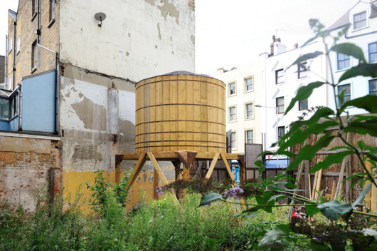 One of the tanks from Diane Dever and Jonathan Wright's installation 'Pent Houses,' created for Folkestone Triennial 2014.