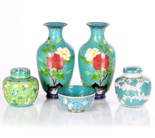 Lot 143, collection of Chinese cloisonné decorative items, 20th century, composed of two lidded jars, two vases and a shallow bowl. Estimate $100-$200. Gray's Auctioneers image.