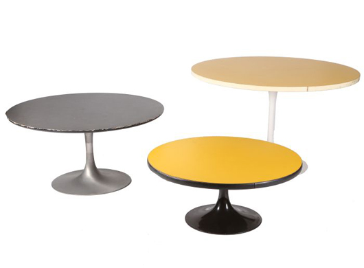 Lot 307, a group of three Eero Saarinen-style enameled metal and Formica pedestal tables, 20th century, largest dimensions: 29 1/2 inches high x 48 inches diameter. Estimate $60-$80. Gray's Auctioneers image.