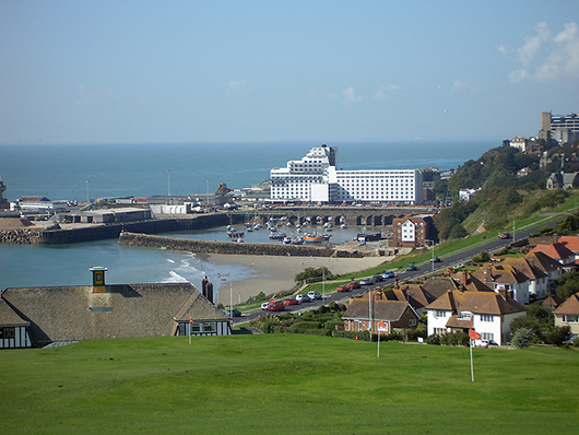 View of Folkestone, a port city on the English Channel in southeast England. This file is licensed under the Creative Commons Attribution-ShareAlike 3.0 Unported license.