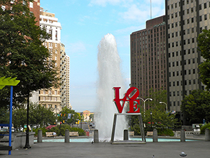 LOVE Park in Philadelphia's JFK Plaza features a Robert Indiana sculpture. Image by Smallbones, courtesy of Wikimedia Commons.