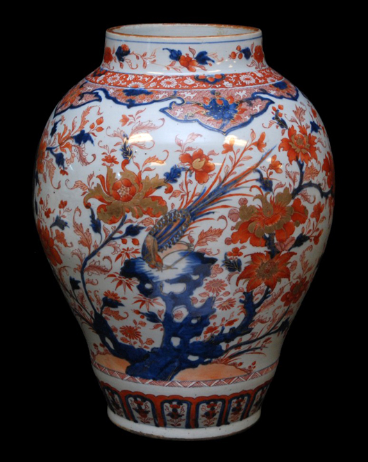 Large and impressive Chinese hand-painted iron red and cobalt blue tone vase, 18 1/4 inches tall (est. $6,000-$8,000). Elite Decorative Arts image.