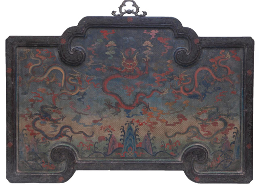 Antique Chinese hand-painted lacquered wooden wall panel depicting five dragons among clouds (est. $8,000-$12,000). Elite Decorative Arts image.