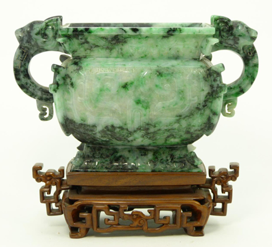 Antique Chinese mottled green jadeite urn featuring foo lion handles carved in relief, 4 inches tall (est. $1,000-$1,200). Elite Decorative Arts image.