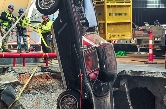 A 1962 Corvette was lifted out of the sinkhole on March 4. Image courtesy of Chevrolet.