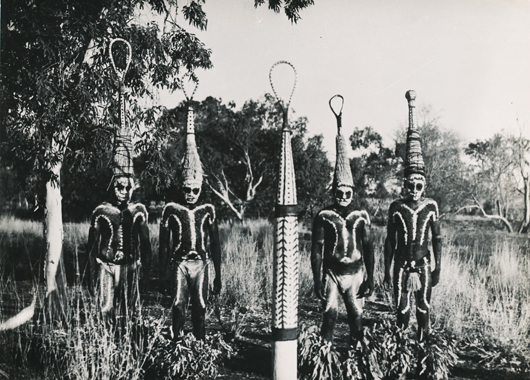 This photograph, taken by Fritz Goro in 1951, showing Northern Australian Aborigines in Corroboree dress, will be for sale with Lisa Tao Tribal Art at £600 ($995) at Tribal Art London. Image courtesy Lisa Tao and Tribal Art London.