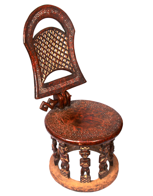 Kamba Gallery will be offering this early 20th-century Namji Chair from Cameroon, priced at £2,500 ($4,150) at the Tribal Art London fair. Image courtesy Kamba Gallery and Tribal Art London.