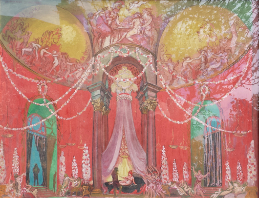 This design on cardboard of 1920, titled 'The Palace of the Queen of Voluptuousness,' by Maurice Denis (1870-1943) is with David Powell Fine Art, priced at £26,000 ($43,165), at the Harewood House Antiques and Fine Art Fair. Image courtesy David Powell Fine Art and Harewood House Antiques and Fine Art Fair.