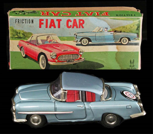 Usagiya (Japan) early 1960s Fiat friction car in original box, one of two color variations of this model to be offered. Est. $50-$100. Morphy Auctions image