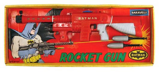 Baravelli (Italy) circa-1966 boxed Batman Rocket Gun. Est. $1,000-$1,500. Morphy Auctions image