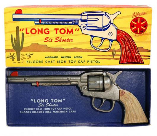 Circa-1938 Kilgore 'Long Tom' Six Shooter cast-iron cap pistol in original box. Est. $500-$800. Morphy Auctions image