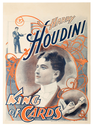 Color lithograph poster, 'Harry Houdini King of Cards,' Chicago, National Printing and Engraving, circa 1898, half-sheet, 19 3/4 inches by 27 3/4 inches, $20,400. Photo courtesy of Potter & Potter.