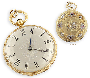 Lepine gold and platinum ladies pocket watch with rose-cut diamond and rubies. From The Silver Store, Princeton, New Jersey. Material Culture image