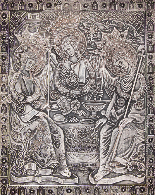 Henryk Winograd pure silver Russian icon, marked HW999. Size: 8.5in x 7in. Material Culture image