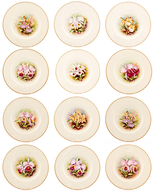 Set of 12 Lenox Orchid plates by J. Nosek. Material Culture image