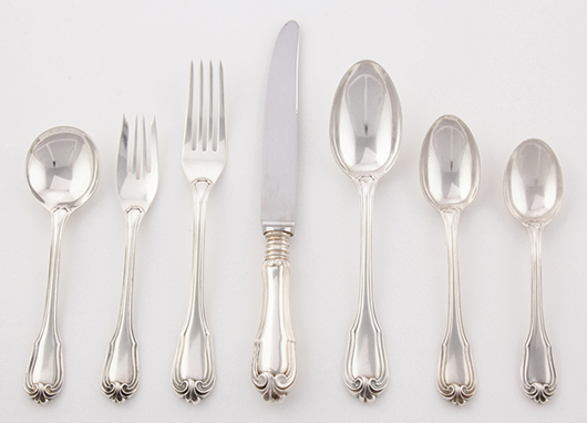 Buccellati flatware service for 6 in the Borgia pattern. Material Culture image