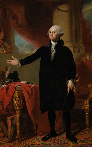 Gilbert Stuart (American, 1755-1828), 'Lansdowne' portrait of George Washington, 1796, Collection of the National Portrait Gallery, Washington, DC. Image from Google Art Project, Google Cultural Institute. Licensed under public domain via Wikimedia Commons