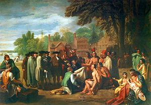 The Lenape, a Native American tribe and First Nations people, were indigenous to Pennsylvania and the MidAtlantic region. This 1771 Benjamin West painting depicts William Penn's 1682 treaty with the Lenape. The painting is in the collection of The Pennsylvania Academy of Fine Arts.