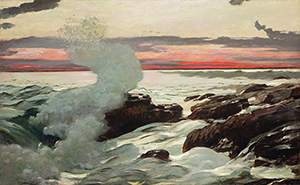 Winslow Homer's (American, 1836-1910) painting 'West Point, Prouts Neck' depicts a location near his studio in Scarborough, Maine. Image courtesy of The Bridgeman Art Library, Object 339895. Licensed under public domain via Wikimedia Commons