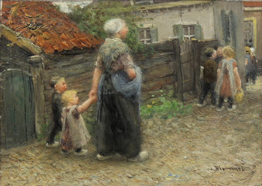 This work titled, A Walk Into Town, by Dutch Master Bernardus Johannes Blommers (1845-1914) from the storied Jacques Goudstikker collection, will be offered for $5,000 to $7,000. Clars image