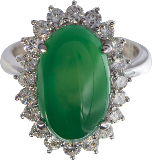Jadeite, diamond and white gold ring with center stone measuring 16.79 x 10.35 x 6.80mm, estimated at $25,000 to $45,000. Clars image