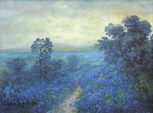 This spectacular oil on board by the Texas artist, Julian Onderdonk (1882-1922), titled, Bluebonnets - Early Morning, will be offered for $30,000 to $50,000. Clars image