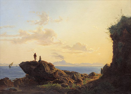 By Russian artist Lev Lagorio (1827-1905), his work titled Figures Gazing at the Sea is conservatively priced to sell at $15,000 to $20,000. Clars image