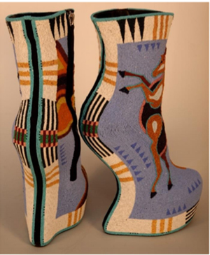 Jamie Okuma (b. 1977), Luiseño/Shoshone-Bannock, California. Horseshoes, 2014. Commercial shoes, glass and 24K gold beads, 30 1⁄2 x 20 1⁄4 x 7 5/8 inches. Collection of Ellen and Bill Taubman, AI.1403.001, Photo: Cameron Linton. Provided by The Nelson-Atkins Museum of Art