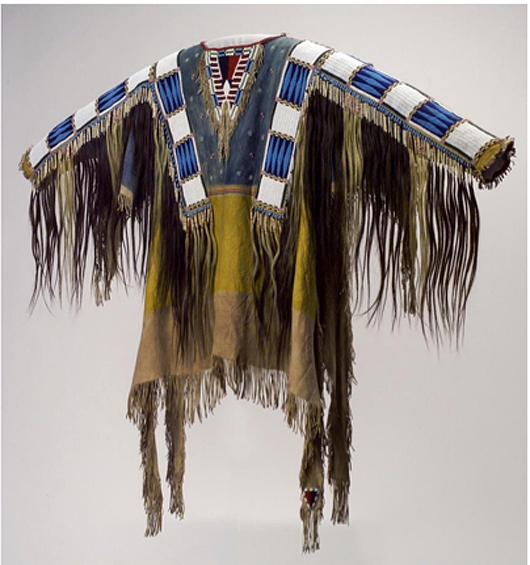 Man's shirt, Oglala Lakota (Teton Sioux) artists, South Dakota, 1865. Native tanned leather, pigment, human hair, horsehair, glass beads, porcupine quills, 58 x 42 1⁄2 inches. Buffalo Bill Center of the West, Adolf Spohr Collection, Gift of Larry Sheerin, NA.202.598. Image provided by The Nelson-Atkins Museum of Art