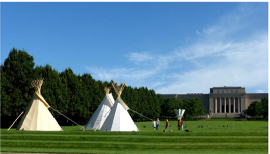 Tipis on the lawn of The Nelson-Atkins Museum of Art. Photo: Kalie Hudson. Provided by The Nelson-Atkins Museum of Art