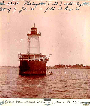 U.S. Coast Guard photo from 1900 picturing the Borden Flats Lighthouse at Fall River, Mass. Image courtesy of Wikimedia Commons.